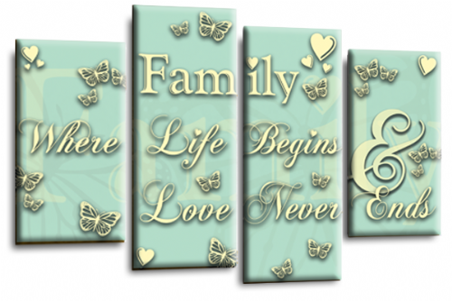 Family Quote Canvas Wall Art Picture Print Duck Egg White
